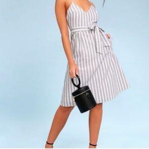 Lulus Black and White Stripe Midi Dress